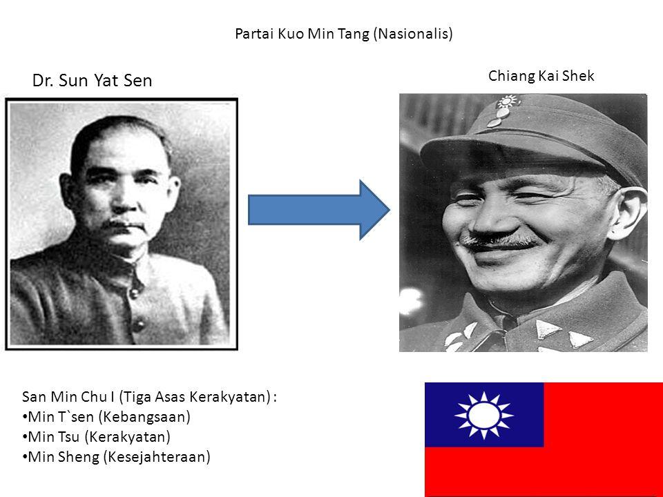 Dr. Sun Yat Sen Partai Kuo Min Tang (Nasionalis) San Min Chu I (Tiga Asas Kerakyatan) : Min T`sen (Kebangsaan) Min Tsu (Kerakyatan) Min Sheng (Kesejah