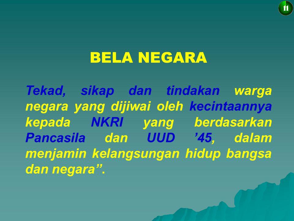 DASAR/LANDASAN HUKUM 10 UU 1945  Psl 27 (3)  Setiap WN berhak dan wajib ikut serta dlm upaya pembelaan negara  Psl 30 (1)  Tiap2 WN berhak & wajib