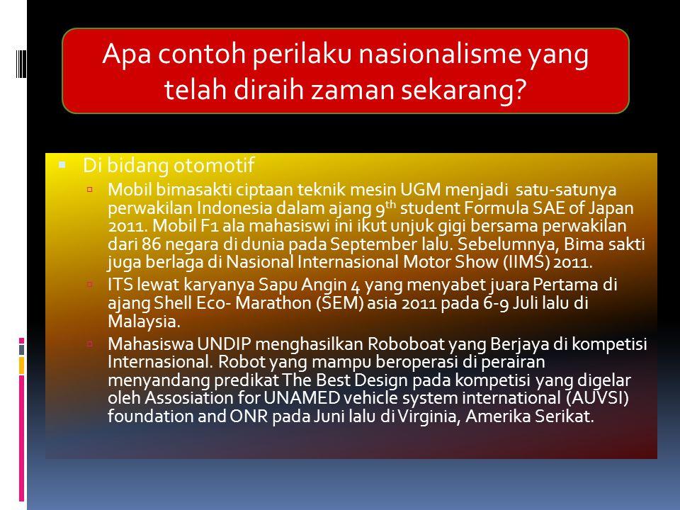 Di bidang otomotif  Mobil bimasakti ciptaan teknik mesin UGM menjadi satu-satunya perwakilan Indonesia dalam ajang 9 th student Formula SAE of Japa