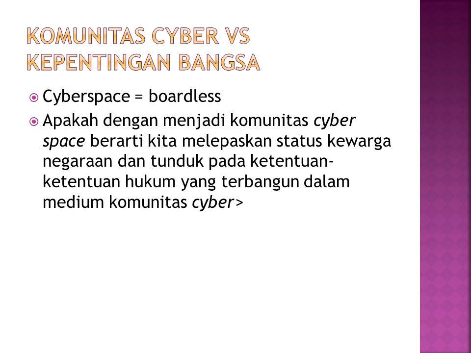  Cyberspace = boardless  Apakah dengan menjadi komunitas cyber space berarti kita melepaskan status kewarga negaraan dan tunduk pada ketentuan- kete