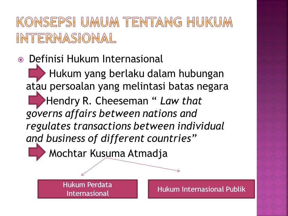 """ Definisi Hukum Internasional Hukum yang berlaku dalam hubungan atau persoalan yang melintasi batas negara Hendry R. Cheeseman """" Law that governs aff"""