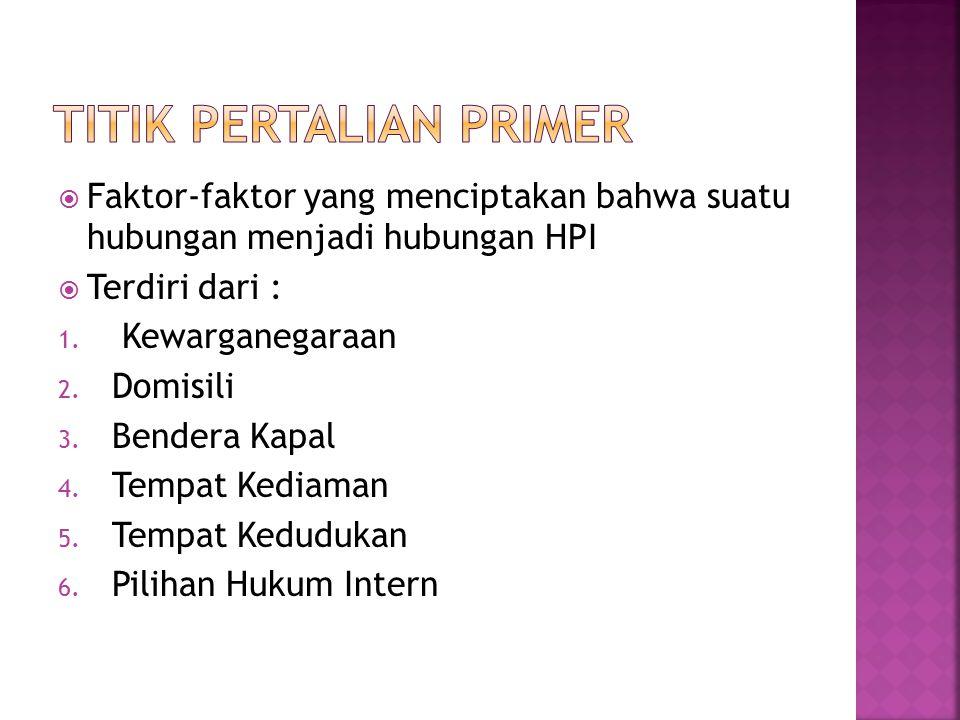 Faktor-faktor yang menciptakan bahwa suatu hubungan menjadi hubungan HPI  Terdiri dari : 1. Kewarganegaraan 2. Domisili 3. Bendera Kapal 4. Tempat