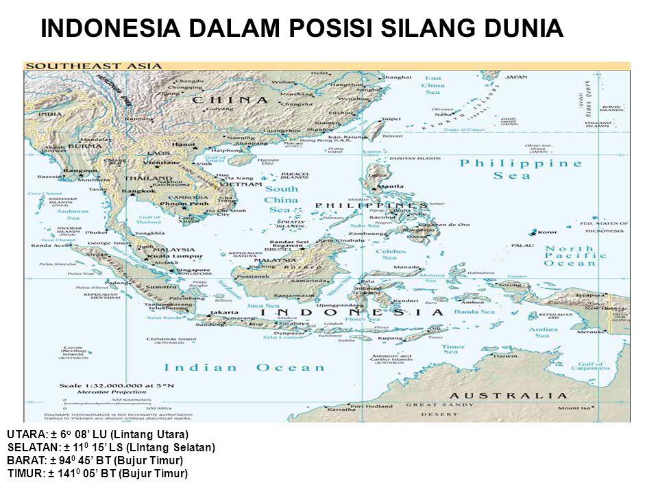 INDONESIA DALAM POSISI SILANG DUNIA UTARA: ± 6 o 08' LU (Lintang Utara) SELATAN: ± 11 0 15' LS (LIntang Selatan) BARAT: ± 94 0 45' BT (Bujur Timur) TI