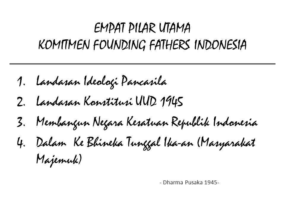 EMPAT PILAR UTAMA KOMITMEN FOUNDING FATHERS INDONESIA 1.Landasan Ideologi Pancasila 2.Landasan Konstitusi UUD 1945 3.Membangun Negara Kesatuan Republi