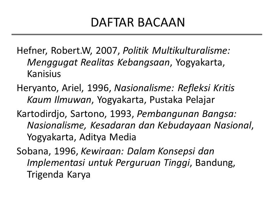 DAFTAR BACAAN Hefner, Robert.W, 2007, Politik Multikulturalisme: Menggugat Realitas Kebangsaan, Yogyakarta, Kanisius Heryanto, Ariel, 1996, Nasionalis