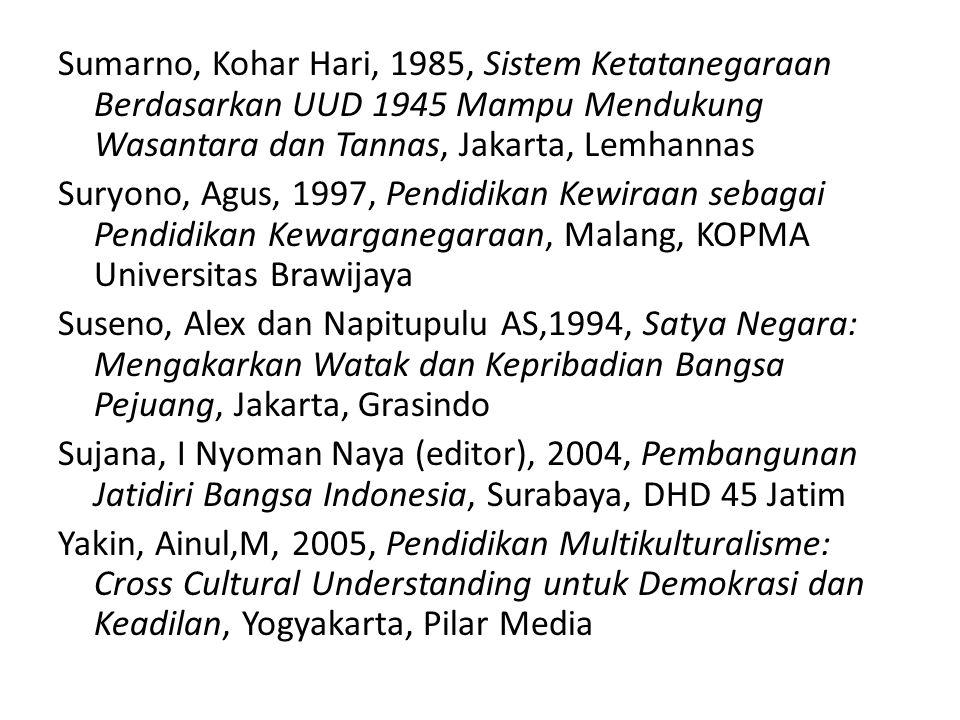 Sumarno, Kohar Hari, 1985, Sistem Ketatanegaraan Berdasarkan UUD 1945 Mampu Mendukung Wasantara dan Tannas, Jakarta, Lemhannas Suryono, Agus, 1997, Pe
