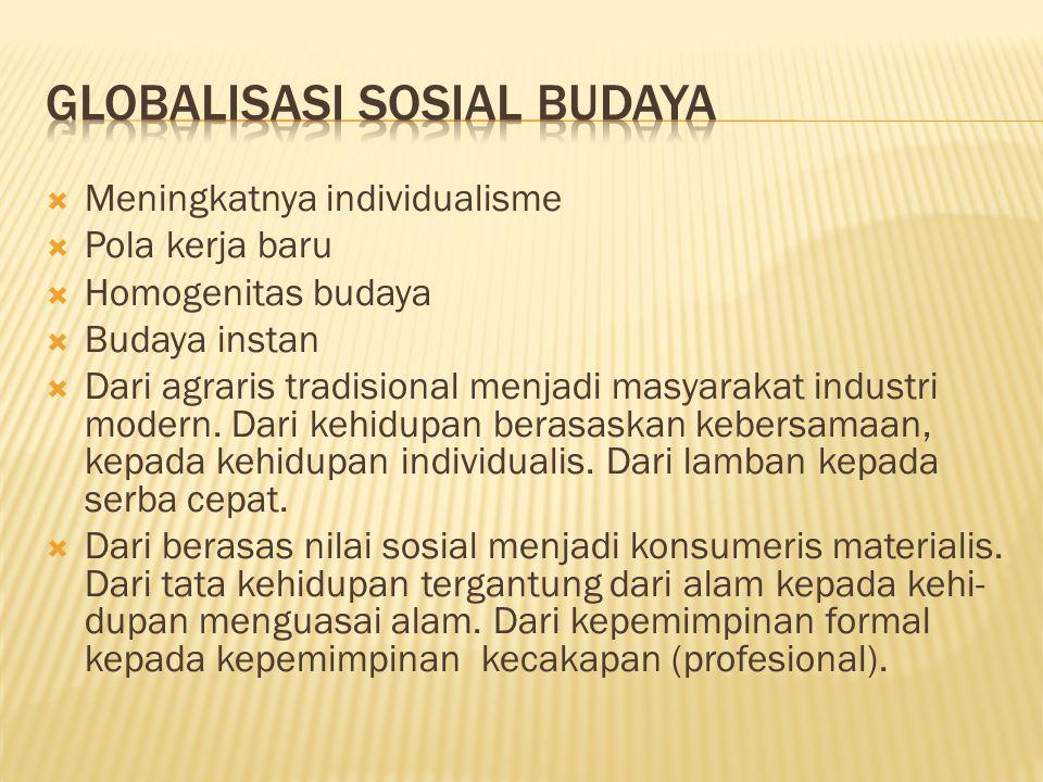 Meningkatnya individualisme  Pola kerja baru  Homogenitas budaya  Budaya instan  Dari agraris tradisional menjadi masyarakat industri modern.