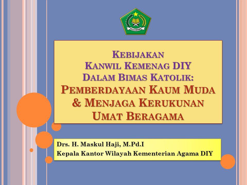 Drs. H. Maskul Haji, M.Pd.I Kepala Kantor Wilayah Kementerian Agama DIY Drs. H. Maskul Haji, M.Pd.I Kepala Kantor Wilayah Kementerian Agama DIY K EBIJ