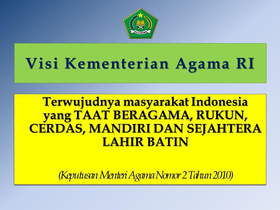 Visi Kementerian Agama RI Terwujudnya masyarakat Indonesia yang TAAT BERAGAMA, RUKUN, CERDAS, MANDIRI DAN SEJAHTERA LAHIR BATIN (Keputusan Menteri Aga