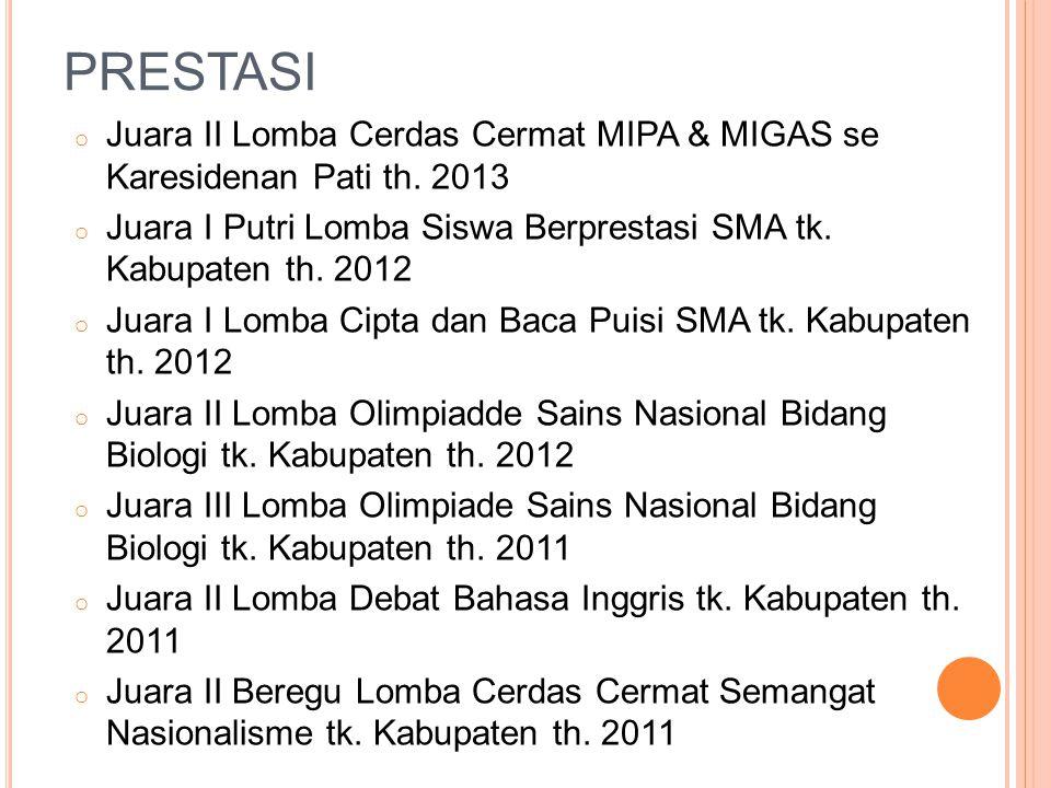 PRESTASI o Juara II Lomba Cerdas Cermat MIPA & MIGAS se Karesidenan Pati th. 2013 o Juara I Putri Lomba Siswa Berprestasi SMA tk. Kabupaten th. 2012 o