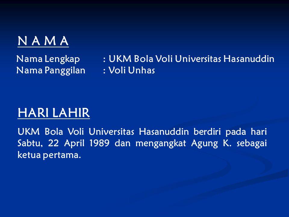 N A M A Nama Lengkap: UKM Bola Voli Universitas Hasanuddin Nama Panggilan: Voli Unhas HARI LAHIR UKM Bola Voli Universitas Hasanuddin berdiri pada har