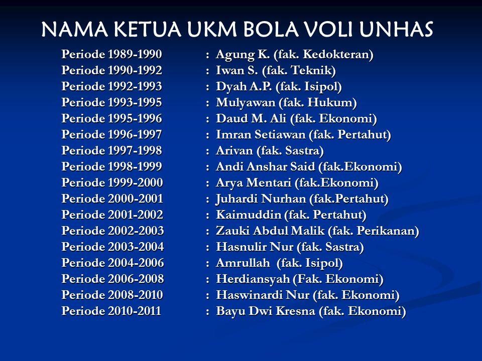 NAMA KETUA UKM BOLA VOLI UNHAS Periode 1989-1990: Agung K. (fak. Kedokteran) Periode 1990-1992: Iwan S. (fak. Teknik) Periode 1992-1993: Dyah A.P. (fa