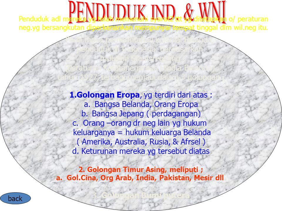 Pada masa pemerintahan kolonial Belanda, penduduk di Indonesia, berdasarkan Indische Staatsregeling (Peraturan Ketatanegaraan Hindia Belanda) tahun 19