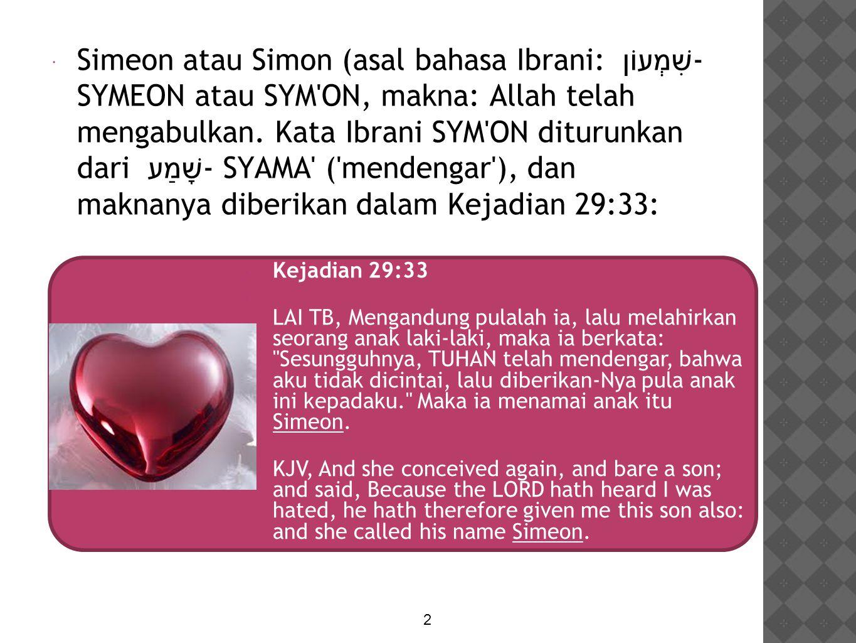  Simeon atau Simon (asal bahasa Ibrani: שִׁמְעוֹן - SYMEON atau SYM'ON, makna: Allah telah mengabulkan. Kata Ibrani SYM'ON diturunkan dari שָׁמַע - S