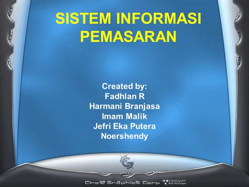 SISTEM INFORMASI PEMASARAN Created by: Fadhlan R Harmani Branjasa Imam Malik Jefri Eka Putera Noershendy