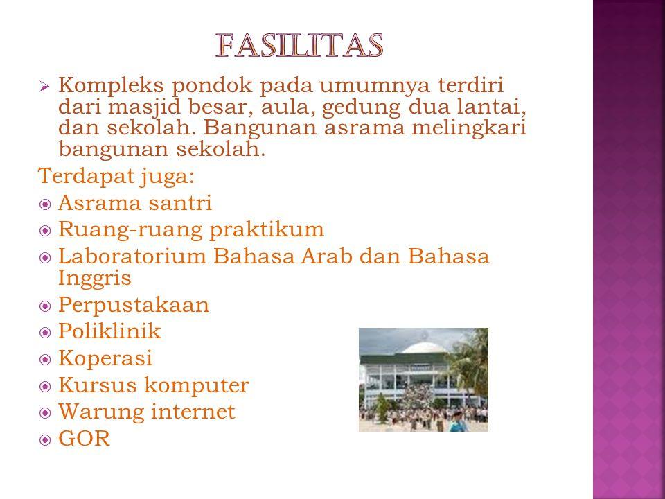  Kompleks pondok pada umumnya terdiri dari masjid besar, aula, gedung dua lantai, dan sekolah. Bangunan asrama melingkari bangunan sekolah. Terdapat