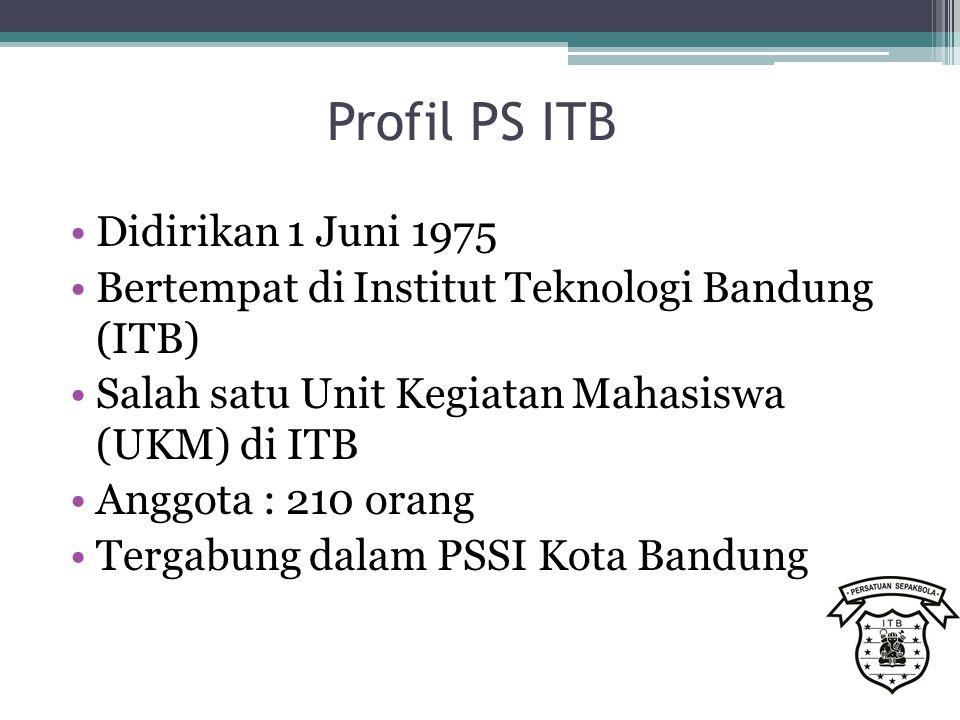Profil PS ITB Didirikan 1 Juni 1975 Bertempat di Institut Teknologi Bandung (ITB) Salah satu Unit Kegiatan Mahasiswa (UKM) di ITB Anggota : 210 orang Tergabung dalam PSSI Kota Bandung