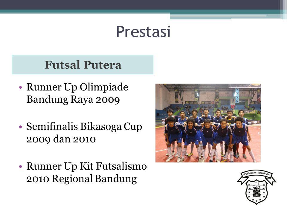 Prestasi Futsal Putera Runner Up Olimpiade Bandung Raya 2009 Semifinalis Bikasoga Cup 2009 dan 2010 Runner Up Kit Futsalismo 2010 Regional Bandung
