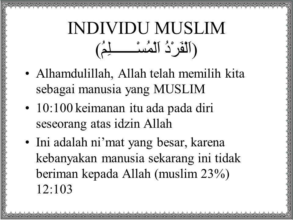 INDIVIDU MUSLIM (اَلْفَرْدُ اَلْمُسْـــــــلِمُ) Alhamdulillah, Allah telah memilih kita sebagai manusia yang MUSLIM 10:100 keimanan itu ada pada diri