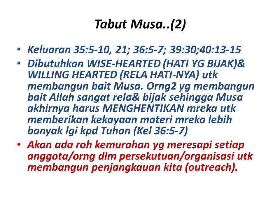 Tabut Musa..(2) Keluaran 35:5-10, 21; 36:5-7; 39:30;40:13-15 Dibutuhkan WISE-HEARTED (HATI YG BIJAK)& WILLING HEARTED (RELA HATI-NYA) utk membangun ba