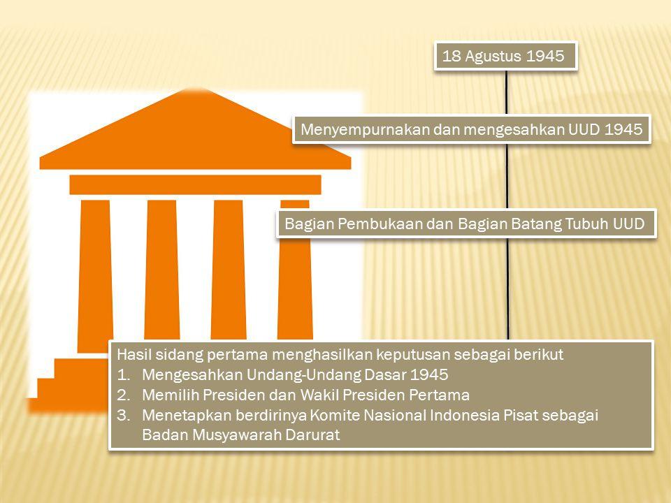 18 Agustus 1945 Menyempurnakan dan mengesahkan UUD 1945 Bagian Pembukaan dan Bagian Batang Tubuh UUD Hasil sidang pertama menghasilkan keputusan sebag