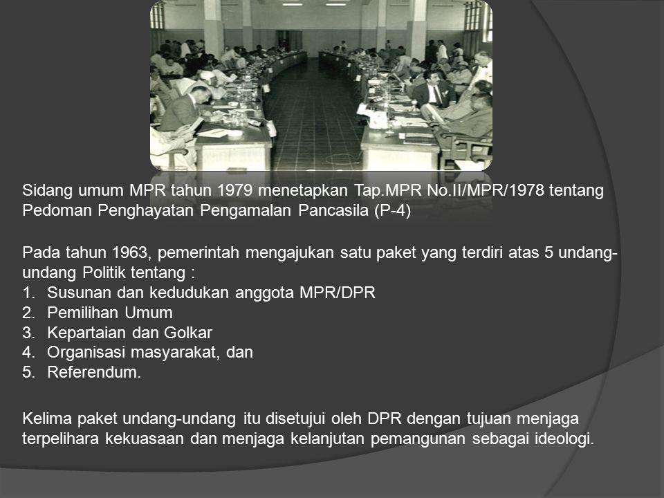 Sidang umum MPR tahun 1979 menetapkan Tap.MPR No.II/MPR/1978 tentang Pedoman Penghayatan Pengamalan Pancasila (P-4) Pada tahun 1963, pemerintah mengaj