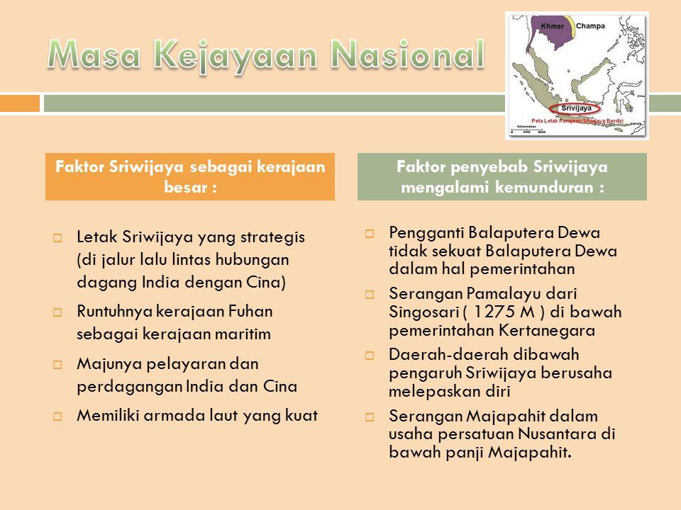  Letak Sriwijaya yang strategis (di jalur lalu lintas hubungan dagang India dengan Cina)  Runtuhnya kerajaan Fuhan sebagai kerajaan maritim  Majuny