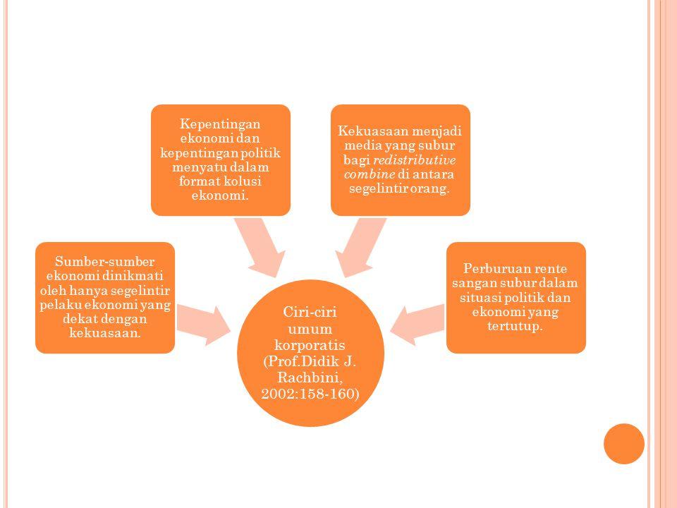 Ciri-ciri umum korporatis (Prof.Didik J. Rachbini, 2002:158-160) Sumber-sumber ekonomi dinikmati oleh hanya segelintir pelaku ekonomi yang dekat denga