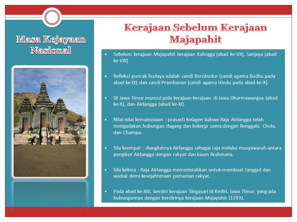  Sebelum kerajaan Majapahit kerajaan Kalingga (abad ke-VII), Sanjaya (abad ke-VIII)  Refleksi puncak budaya adalah candi Borobudur (candi agama Budh