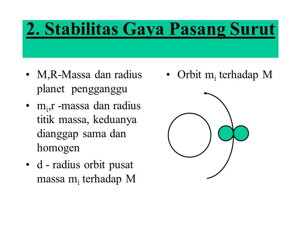2. Stabilitas Gaya Pasang Surut M,R-Massa dan radius planet pengganggu m i,r -massa dan radius titik massa, keduanya dianggap sama dan homogen d - rad