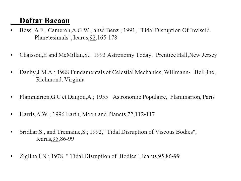 Daftar Bacaan Boss, A.F., Cameron,A.G.W., ansd Benz.; 1991,
