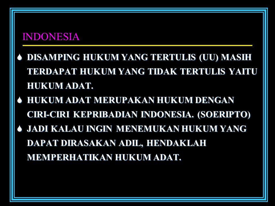 INDONESIA DDDDISAMPING HUKUM YANG TERTULIS (UU) MASIH TERDAPAT HUKUM YANG TIDAK TERTULIS YAITU HUKUM ADAT.