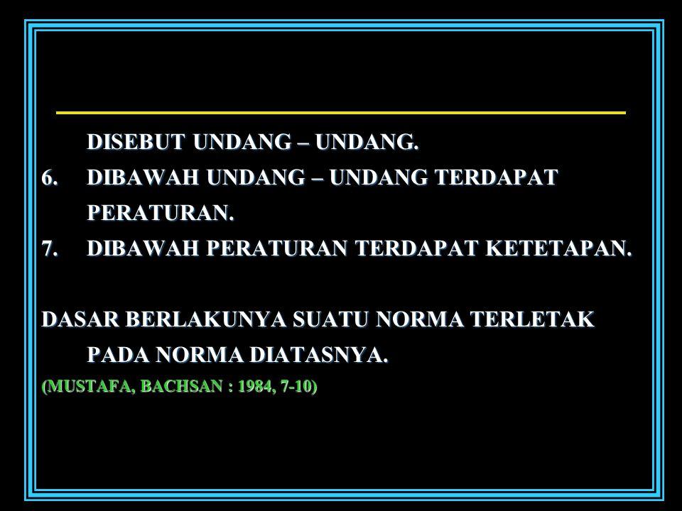 DISEBUT UNDANG – UNDANG.6.D IBAWAH UNDANG – UNDANG TERDAPAT PERATURAN.