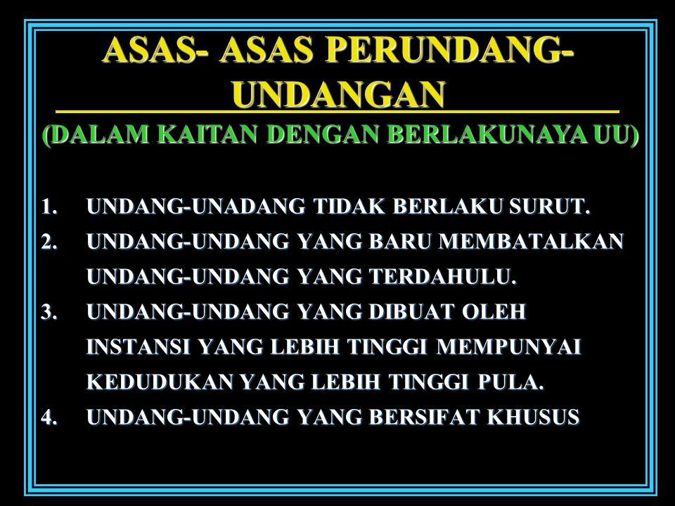 ASAS- ASAS PERUNDANG- UNDANGAN 1.U NDANG-UNADANG TIDAK BERLAKU SURUT.