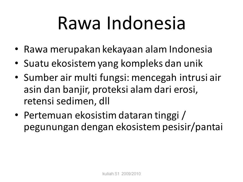 Rawa Indonesia Rawa merupakan kekayaan alam Indonesia Suatu ekosistem yang kompleks dan unik Sumber air multi fungsi: mencegah intrusi air asin dan banjir, proteksi alam dari erosi, retensi sedimen, dll Pertemuan ekosistim dataran tinggi / pegunungan dengan ekosistem pesisir/pantai kuliah S1 2009/2010