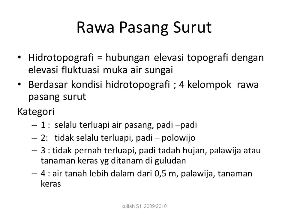 Rawa di Indonesia kuliah S1 2009/2010