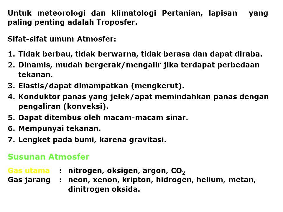 Untuk meteorologi dan klimatologi Pertanian, lapisan yang paling penting adalah Troposfer. Sifat-sifat umum Atmosfer: 1.Tidak berbau, tidak berwarna,