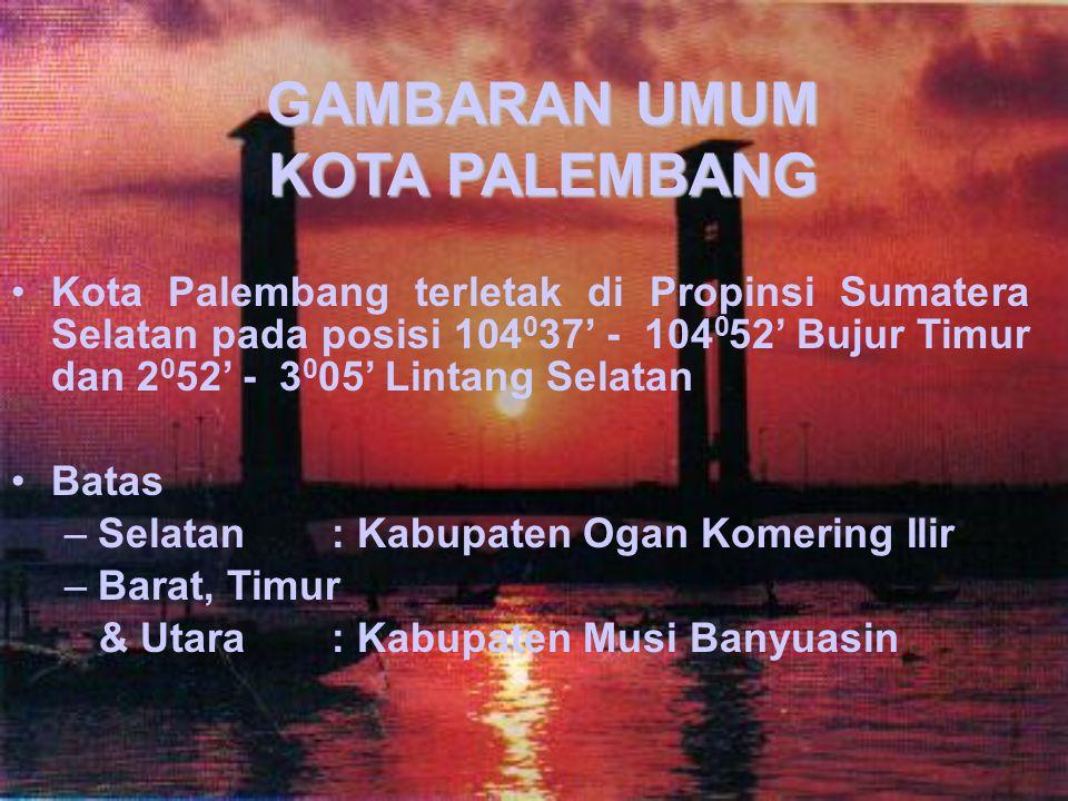 GAMBARAN UMUM KOTA PALEMBANG Kota Palembang terletak di Propinsi Sumatera Selatan pada posisi 104 0 37' - 104 0 52' Bujur Timur dan 2 0 52' - 3 0 05' Lintang Selatan Batas –Selatan: Kabupaten Ogan Komering Ilir –Barat, Timur & Utara: Kabupaten Musi Banyuasin