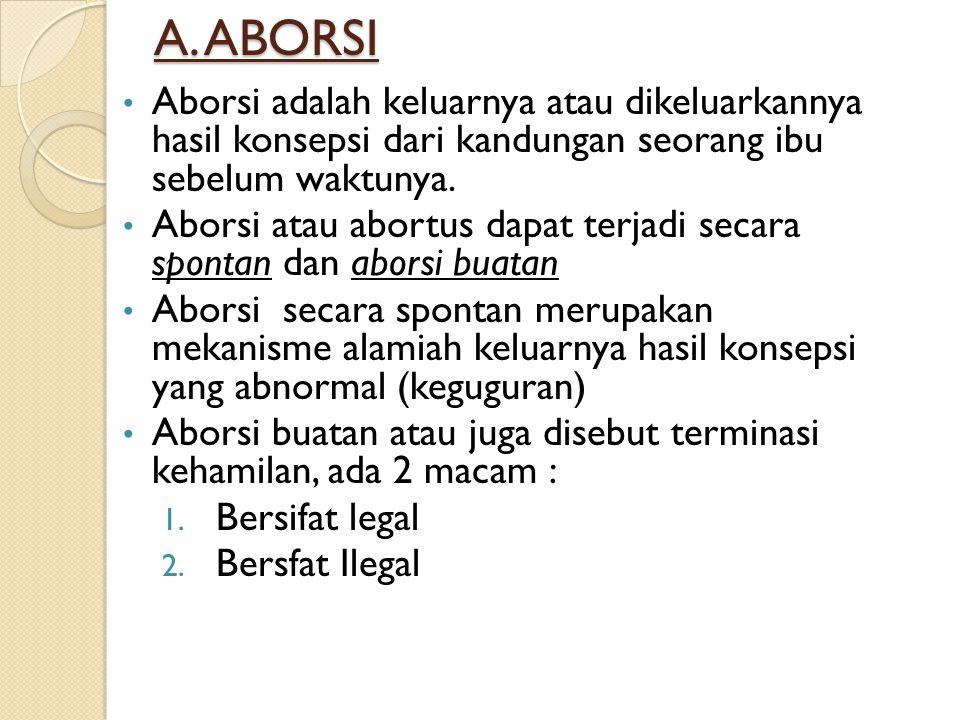 A. ABORSI Aborsi adalah keluarnya atau dikeluarkannya hasil konsepsi dari kandungan seorang ibu sebelum waktunya. Aborsi atau abortus dapat terjadi se