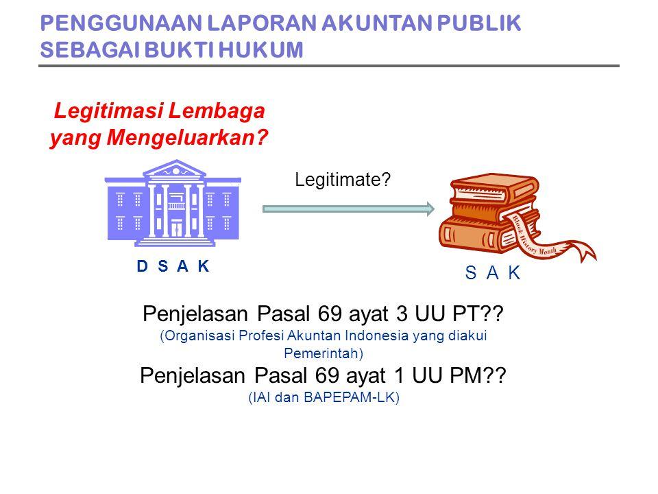 Legitimasi Lembaga yang Mengeluarkan. D S A K S A K Penjelasan Pasal 69 ayat 3 UU PT .
