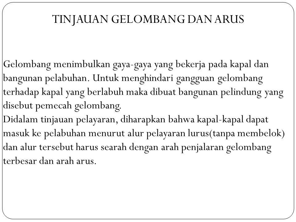 TINJAUAN GELOMBANG DAN ARUS Gelombang menimbulkan gaya-gaya yang bekerja pada kapal dan bangunan pelabuhan.