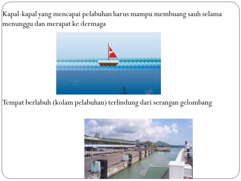 Kapal-kapal yang mencapai pelabuhan harus mampu membuang sauh selama menunggu dan merapat ke dermaga Tempat berlabuh (kolam pelabuhan) terlindung dari
