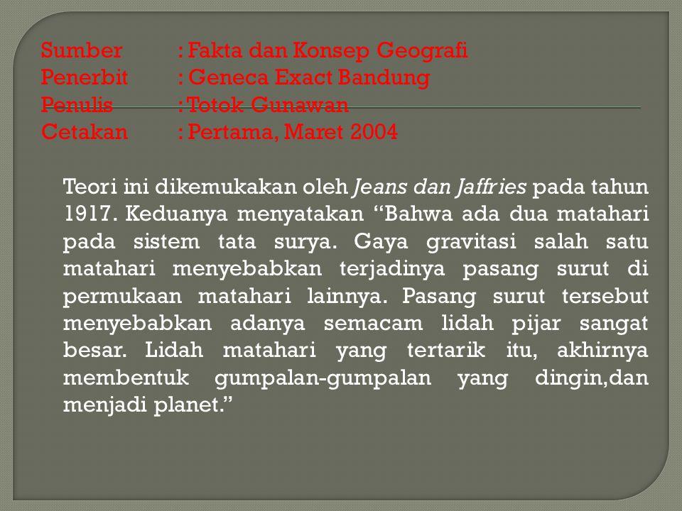 Sumber : Fakta dan Konsep Geografi Penerbit: Geneca Exact Bandung Penulis : Totok Gunawan Cetakan : Pertama, Maret 2004 Teori ini dikemukakan oleh Jeans dan Jaffries pada tahun 1917.