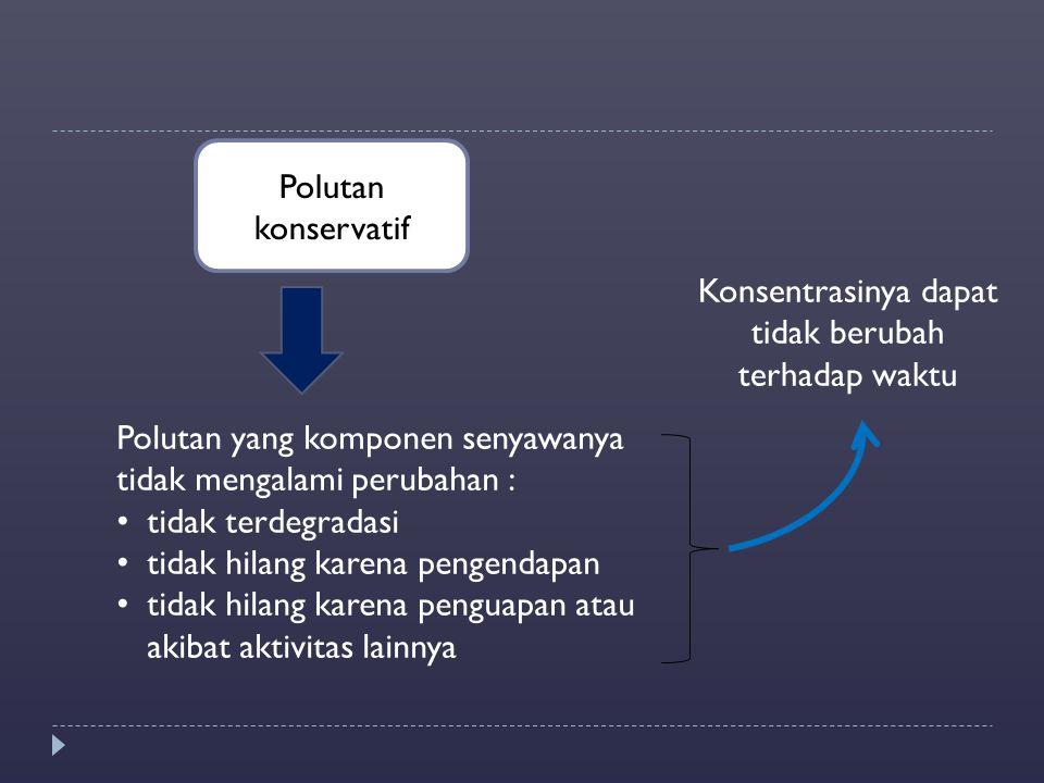 Polutan konservatif Konsentrasinya dapat tidak berubah terhadap waktu Polutan yang komponen senyawanya tidak mengalami perubahan : tidak terdegradasi
