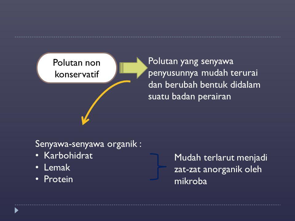 Polutan non konservatif Polutan yang senyawa penyusunnya mudah terurai dan berubah bentuk didalam suatu badan perairan Senyawa-senyawa organik : Karbo