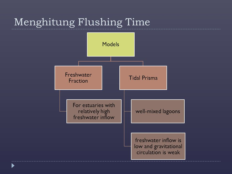 Menghitung Flushing Time Models Freshwater Fraction For estuaries with relatively high freshwater inflow Tidal Prisma well-mixed lagoons freshwater in