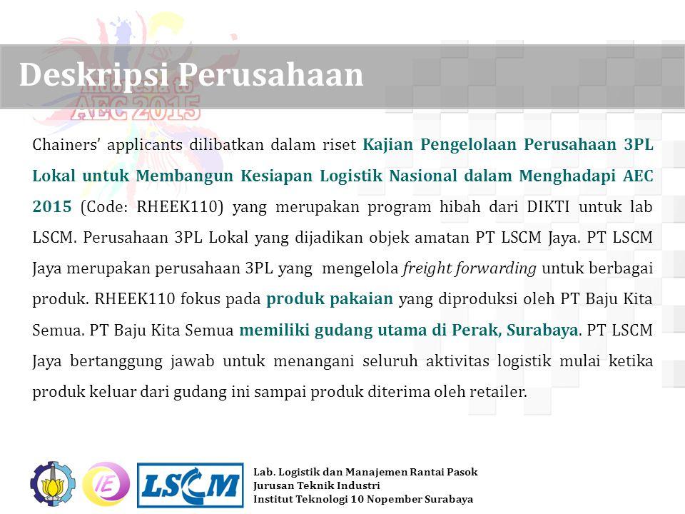 Lab. Logistik dan Manajemen Rantai Pasok Jurusan Teknik Industri Institut Teknologi 10 Nopember Surabaya Chainers' applicants dilibatkan dalam riset K