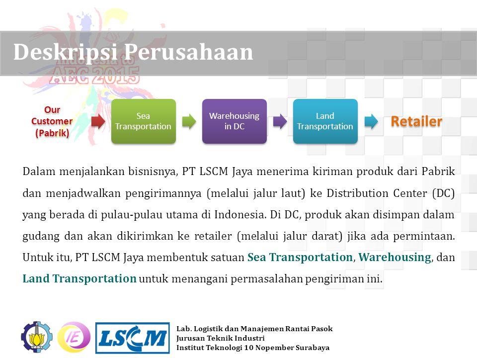 Lab. Logistik dan Manajemen Rantai Pasok Jurusan Teknik Industri Institut Teknologi 10 Nopember Surabaya Dalam menjalankan bisnisnya, PT LSCM Jaya men