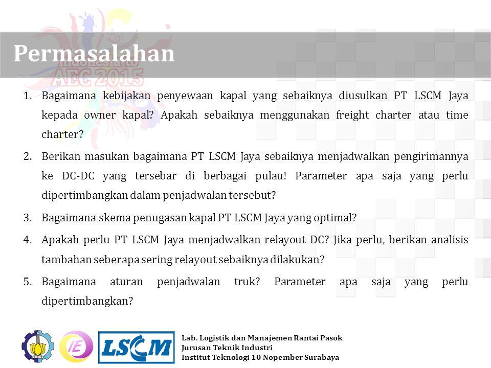 Lab. Logistik dan Manajemen Rantai Pasok Jurusan Teknik Industri Institut Teknologi 10 Nopember Surabaya 1.Bagaimana kebijakan penyewaan kapal yang se