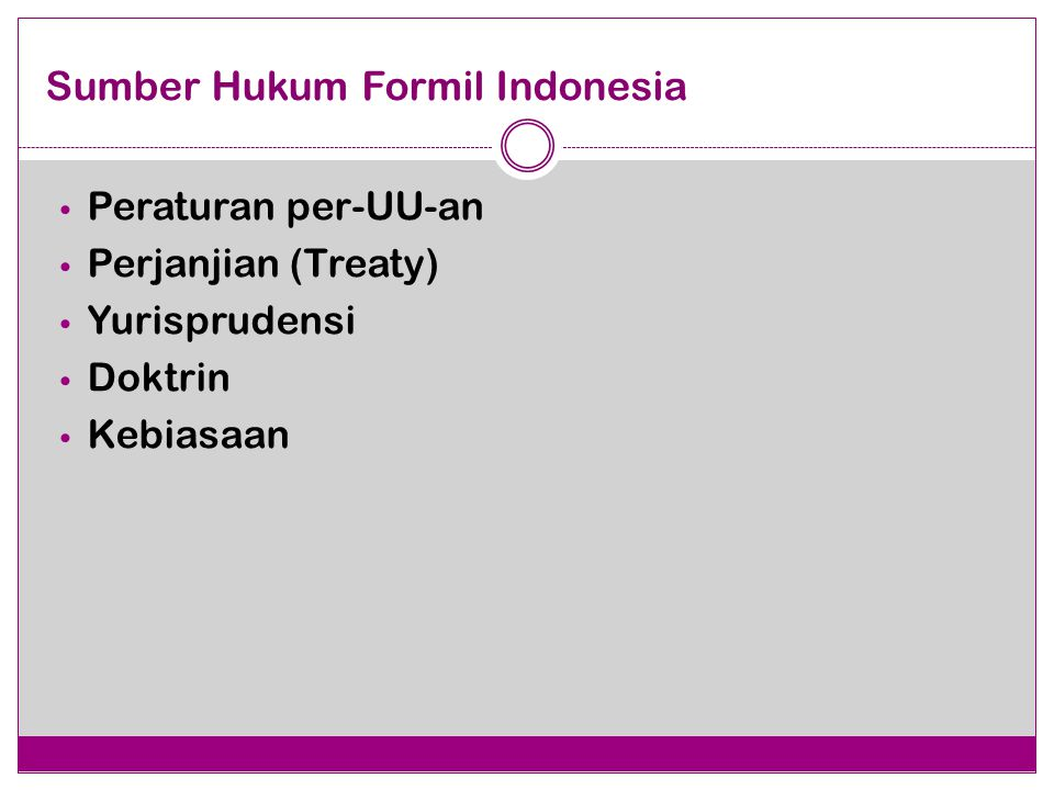 Sumber Hukum Formil Indonesia Peraturan per-UU-an Perjanjian (Treaty) Yurisprudensi Doktrin Kebiasaan